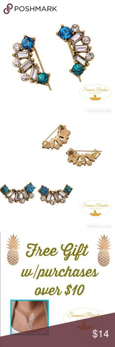 💠NWT Crystal Ear Climbers Brilliant shine to these unique Crystal gold plated ear climber earrings!                                      💠Bundle to Save $$$.                                           💠FREE GIFT with every purchase over $10                                                      💠TAGS: Ear climbers, climber earrings, crystal earrings. Summer Paradise Jewelry Earrings