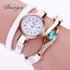 Duoya Brand Watch Women Luxury Gold Eye Gemstone Dress Watches Women Gold Bracelet Watch Female Leather Quartz Wristwatches