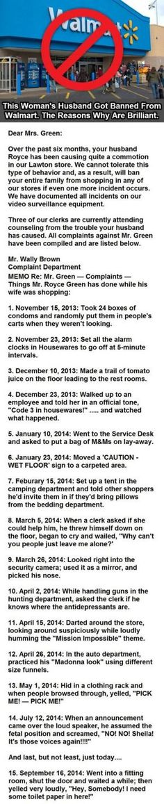 This woman's husband got banned from #WalMart. The reasons why are brilliant! #Lol #Hilarious by sjulian1