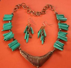 Dokra & Green Turquoise Sticks Necklace