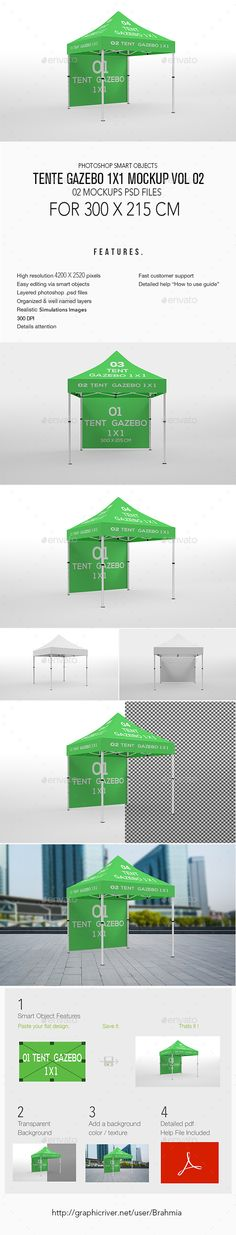 Tente Gazebo 1x1 Mockup Vol 02 This stuff contains 02 Editable PSD File Flag MockUp that will turn your design into photo realisti