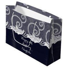 Custom Wedding Birthday Graphite White Lace Navy Large Gift Bag