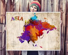 WATERCOLOR MAP  Asia Map Watercolor Painting. by SeasonsSpace, $25.00