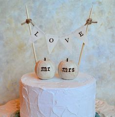 Perfect for a fall wedding! Wedding cake topper...mr mrs pumpkins and fabric LOVE by SkyeArt, $34.00