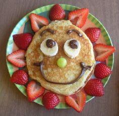 Sunny Pancakes: Ingredients: Strawberries, banana, grape, NUTELLA, pankake