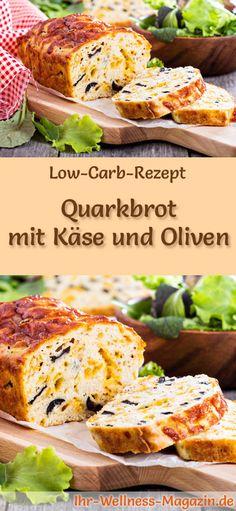 Rezept für Low Carb Quarkbrot mit Käse und Oliven: Kohlenhydratarm, ohne Getreidemehl, gesund und gut verträglich ... #lowcarb #brot #backen