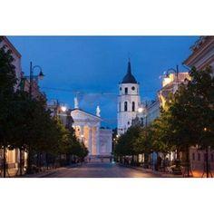 Lithuania Vilnius Vilnius Cathedral evening Canvas Art - Walter Bibikow DanitaDelimont (24 x 15)