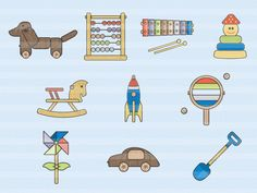 wooden toys icons, flat style