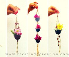 Mini hanging garden made with recycled coffee pods