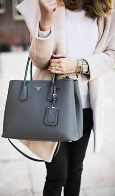Image Result For Women Wearing Prada Tote Designer Bags Black