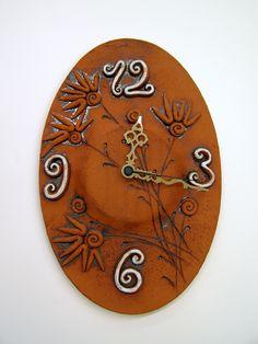 ceramic clock - terra cotta
