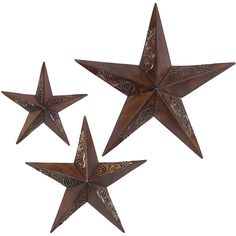 Set of 3 Rustic Stars Wall Art (52 CAD) ❤ liked on Polyvore featuring home, home decor, wall art, fillers, stars, decor, backgrounds, metal star wall art, star wall art and brown wall art