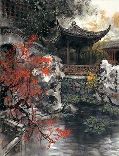 Ella's Dream World — Art by Zhao Wuchao Chinese Landscape Painting, Chinese Painting, Landscape Paintings, Japanese Artwork, Japanese Painting, Oriental, Background Drawing, China Art, Korean Art