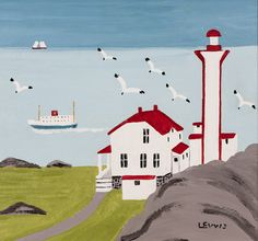 Maud Lewis, Lighthouse and Ferry at Cape Forchu, Yarmouth County, North Digby, Nova Scotia. Oil on board. Maudie Lewis, Canadian Art, Primitive Folk Art, Prince Edward Island, Naive Art, Pretty Art, Nova Scotia, Cool Drawings, Lighthouse