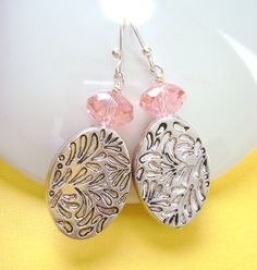 Earrings  Pink rondelle and Pewter oval by RachellesJewelryBox, $20.00