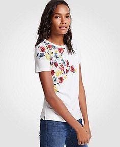 #Spring #AdoreWe #Ann Taylor - #Ann Taylor Ann Taylor Winter Floral Pima Cotton Crew Neck Tee - AdoreWe.com