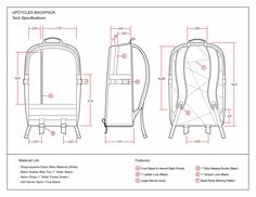 Upcycled Backpack Technical Drawing