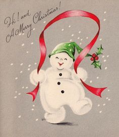 Vintage Holidays. Snowman skipping rope with a ribbon.