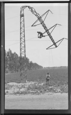 1912 Long Beach Colton Transmission Line - Tower #161, pulled over - broken guy.  The Huntington Library maintains a collection of historic SCE Photos and Negatives.
