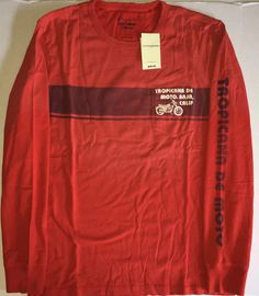 Mens XXL Distressed Orange Tropicana Motorcycle Long Sleeve Tee Lucky Brand