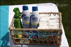 DIY basket of essentials for guests for outdoor wedding..sunscreen..bug repellent, etc