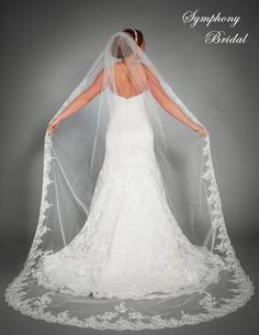 Exquisite Lace Cathedral Length Wedding Veil 6442VL by Symphony Bridal - Affordable Elegance Bridal -