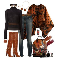 """""""Denim chic in R13 jeans - Brown and black"""" by riquee on Polyvore"""