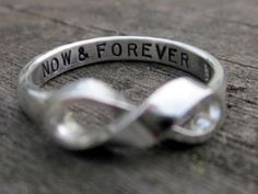 Items similar to Custom Message Infinity Ring by donnaodesigns on Etsy Just In Case, Just For You, The Bling Ring, Bling Bling, Do It Yourself Fashion, Now And Forever, Forever Ring, Tomorrow Forever, Forever Book