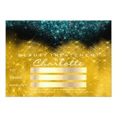Gold Confetti Glitter Teal Salon Certificate Gift Card - makeup artist gifts style stylish unique custom stylist