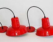 pair of red metal lights