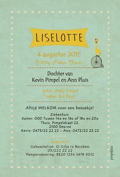 Geboortekaartje Liselotte - achterkant - Pimpelpluis - https://www.facebook.com/pages/Pimpelpluis/188675421305550?ref=hl (# vintage - retro - giraf - fiets - Antwerpen - origineel)