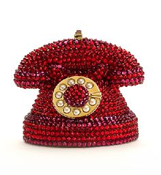 Judith Leiber red jeweled telephone clutch
