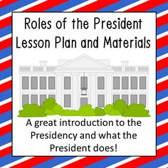 One thing my students are always surprised to learn is how much the President is responsible for. Whether it's leading the military, acting as a diplomat, or running an extremely large organization the President is a busy person! This low-prep lesson plan teaches students about the roles of the President of the United States.