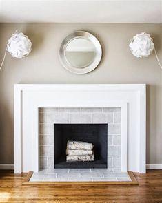 Basement fireplace with herringbone surround?
