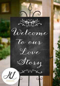 DIY Printable Chalkboard Wedding Sign Welcome by HoneyLaneDesigns