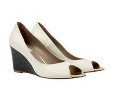 Cannes White Black wedge heels