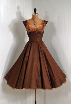 1950's Ceil Chapman Mocha Silk and Tulle Cocktail Dress