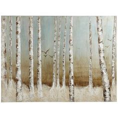 The stark simplicity of the tall, slim birches seems to come to life on our hand-painted canvas as the birds move toward you from the blue sky. Sized just right for a den or living room, it projects a quiet, yet lively, peacefulness.