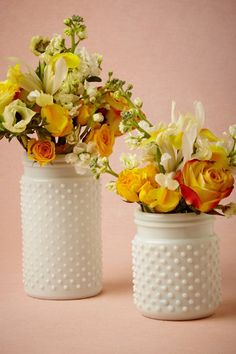 Bright & cheery florals in milk glass hobnail jars