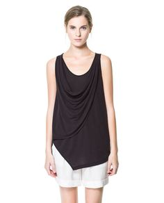 Image 1 of T-SHIRT WITH DRAPED NECKLINE from Zara