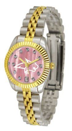 Montana State Bobcats Executive Ladies Watch with Mother of Pearl Dial by SunTime. $179.54. 23kt Gold Plate Bezel. Calendar Date Function. Stainless Steel Case. Safety Clasp. Two-Tone Solid Stainless Steel Band. The ultimate Montana State Bobcats fan's statement, our Executive timepiece offers men and women a classic, business-appropriate look. Features a 23KT gold-plated bezel, stainless steel case and date function. Secures to your wrist with a two-tone solid sta...