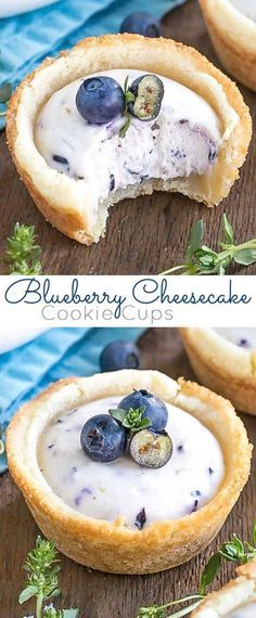 These Blueberry Cheesecake Cookie Cups make the perfect use of those fresh summer berries! | livforcake.com
