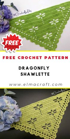 25 Spring Shawl Crochet Patterns You *Have* to Try This Season - Elma Craft Crochet Dragonfly Pattern, Crochet Thread Patterns, Crochet Headband Pattern, Crochet Designs, Crochet Crafts, Crochet Projects, Free Crochet, Easy Crochet, Crochet Triangle