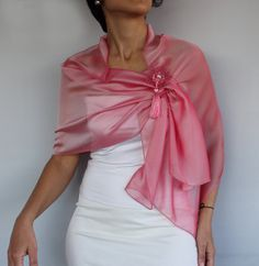 Pink Scarf Shoulder Stole with Brooch Pin, Long Iridescent Pink Silk Chiffon Wrap, Handmade Tatting Lace, Unique Item, Mother Of The Bride Fashion, Scarf Knots, Silk Chiffon Fabric, Chiffon Evening Dresses, Tatting Lace, How To Wear Scarves, Long Scarf, Pink Silk, Scarf Styles
