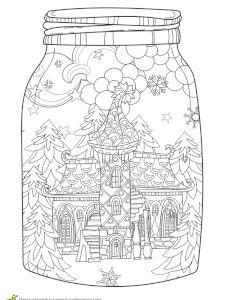 Coloriage pour un hiver zen, un tout petit chalet