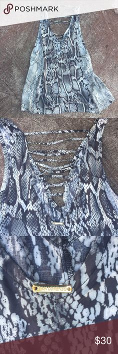 San Lorenzo dress San Lorenzo SNAKE cover up dress with laced caged lattice neck on both side. Really beautiful and light. NWOT. San Lorenzo Dresses Mini