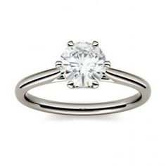 Forever One Round Moissanite Six Prong Solitaire Engagement Ring