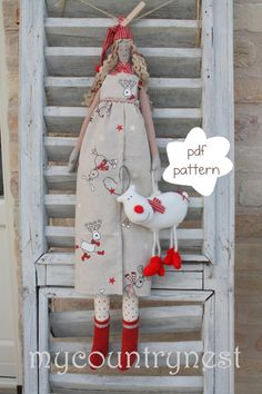 Pattern: Grethe the doll, queen of reindeer- doll pattern-nordic elf doll pattern-Crhistmas doll pattern. €7.50, via Etsy.