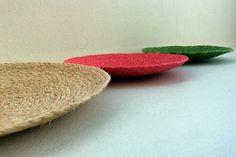 raffia plates handbraided