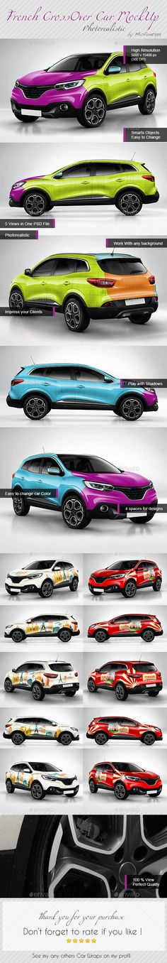 Photorealistic French Crossover car Wrap Mock-up #design Download: http://graphicriver.net/item/photorealistic-french-crossover-car-wrap-mockup/13736356?ref=ksioks